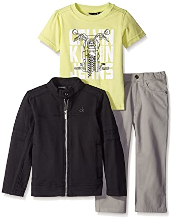 Calvin Klein Little Boys  3 Piece Pant Set- Jacket with Graphic Tee and Jean 48c85be24