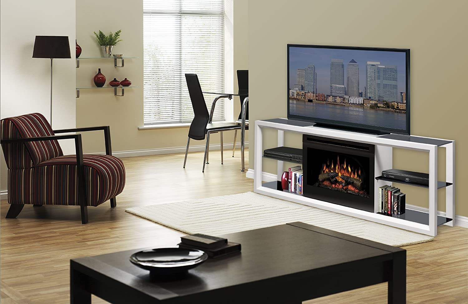 Amazon Dimplex Novara Media Console With 25 Inch Electric Firebox White SAPHL 300 W Home Kitchen