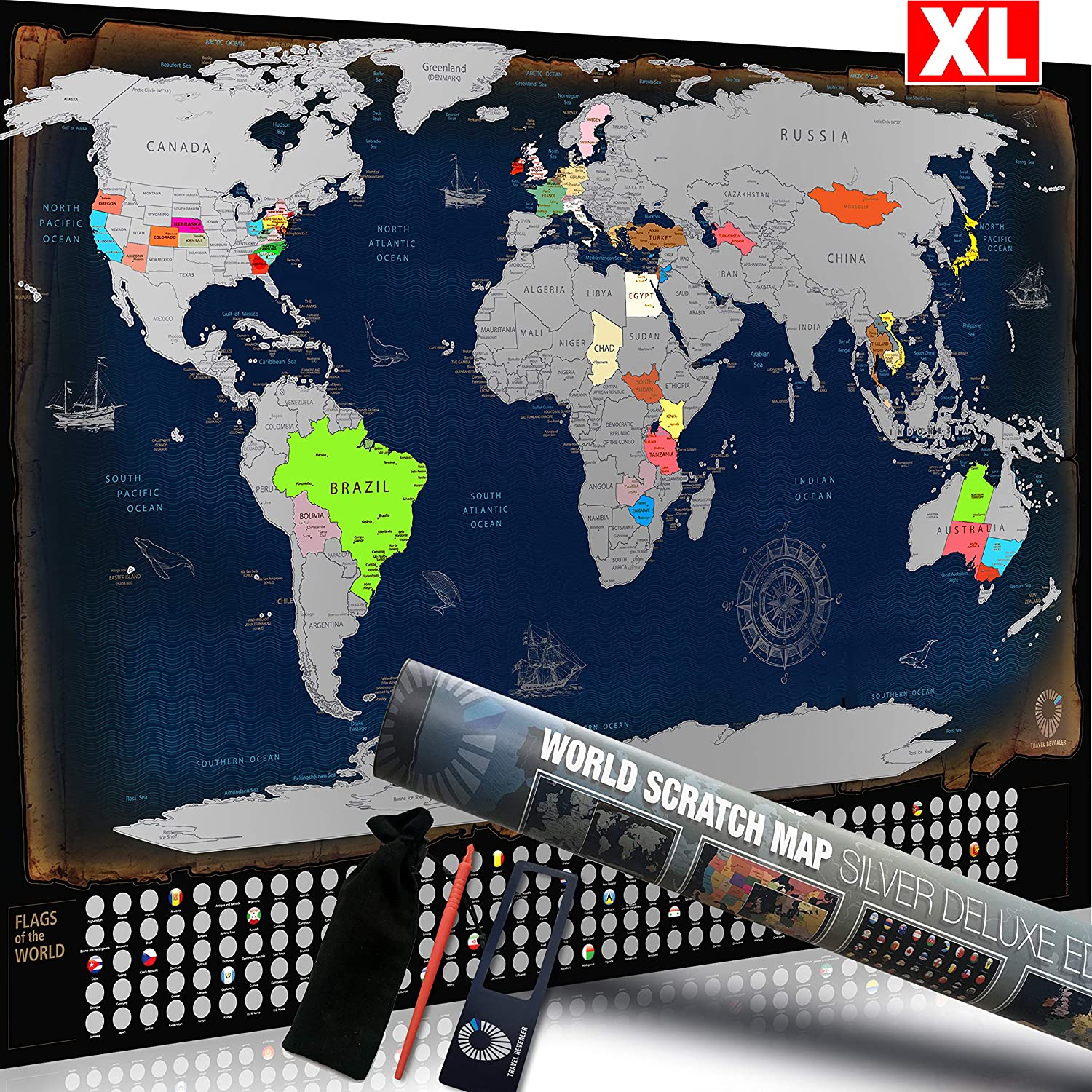 Scratch-Off Interactive World Map by Travel Revealer. Large 34 x 22 ...