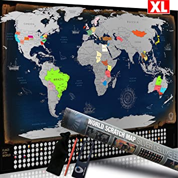 Scratch-Off Interactive World Map by Travel Revealer. Large ...