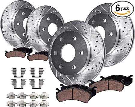 Fit 2012-2017 Ford F-150 Rear PSport Drill Slot Brake Rotors+Ceramic Brake Pads