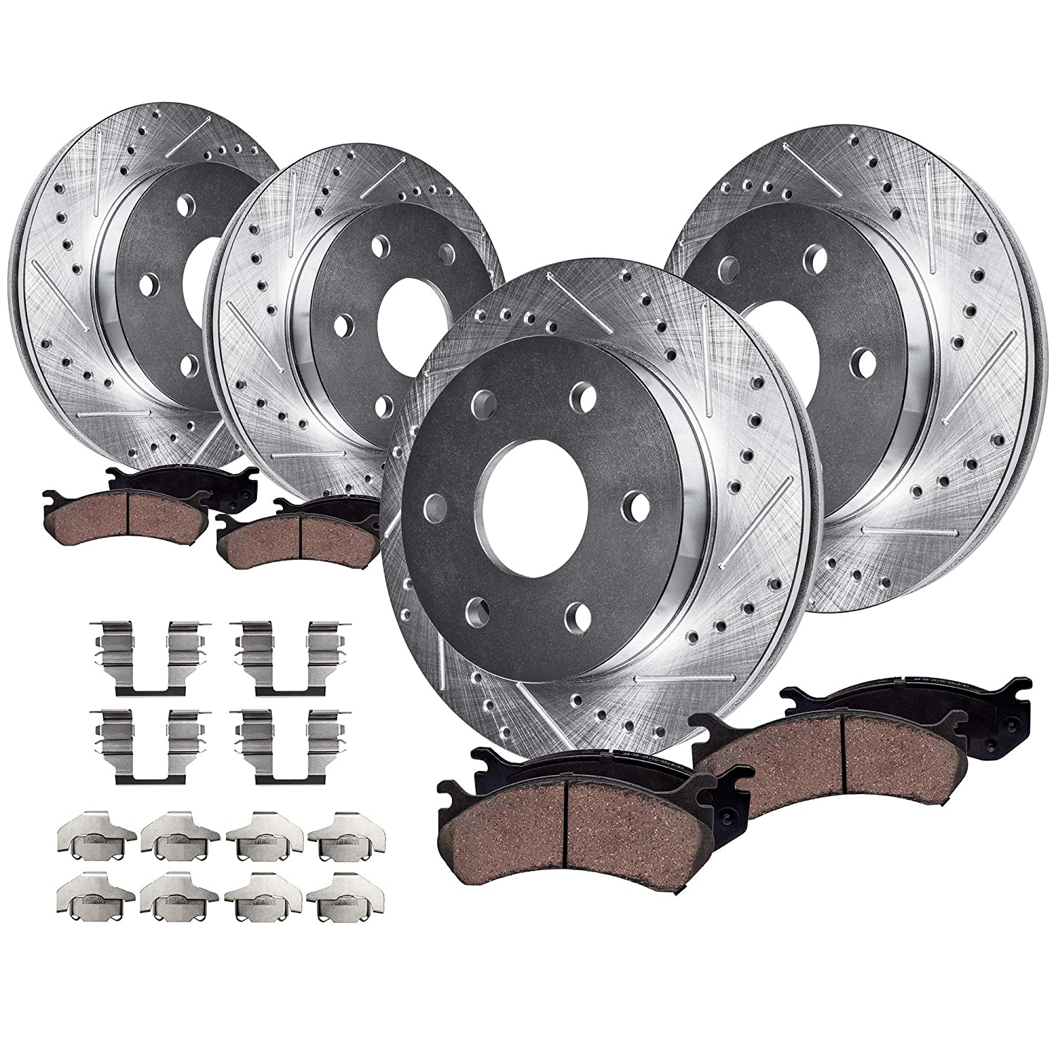 Fit Buick//Chevy//GMC Rear Drilled Slotted Vented Disc Brake Rotors+Ceramic Pads