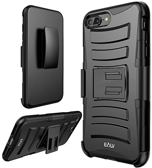 iPhone 8 Plus Case, E LV iPhone 7 Plus Case Belt Clip / Kickstand - Dual Layer Rugged Armor Holster Defender Full Body Protective Case Cover for Apple ...