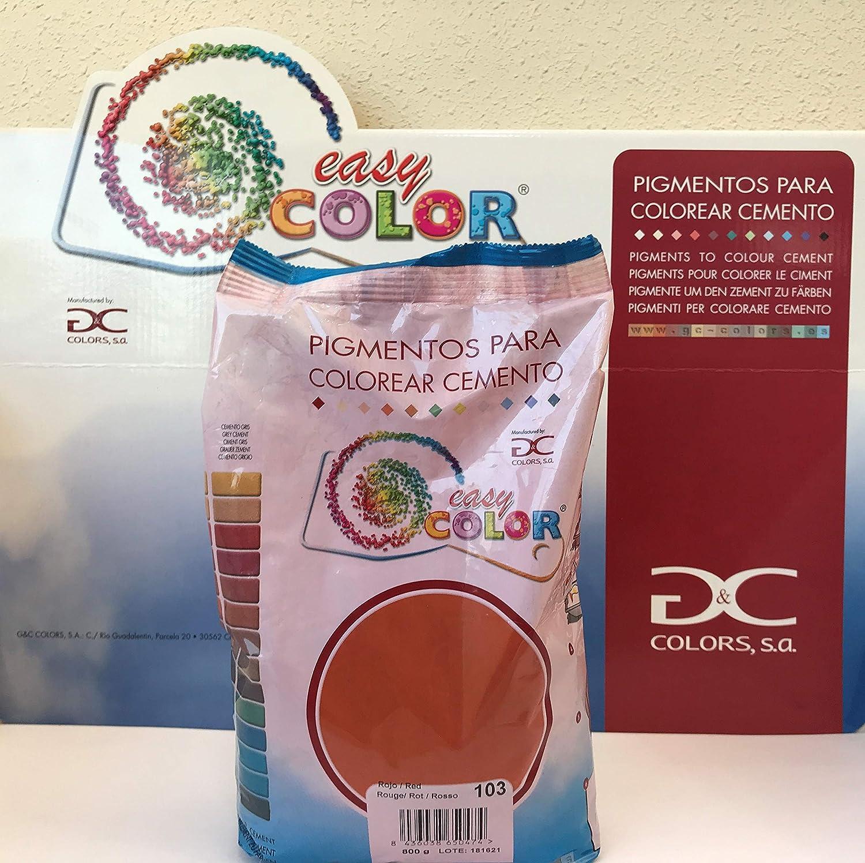 Easy Color Rojo 103 para cemento, mortero y hormigón (Pigmento Rojo Óxido de Hierro) (Rojo 103)