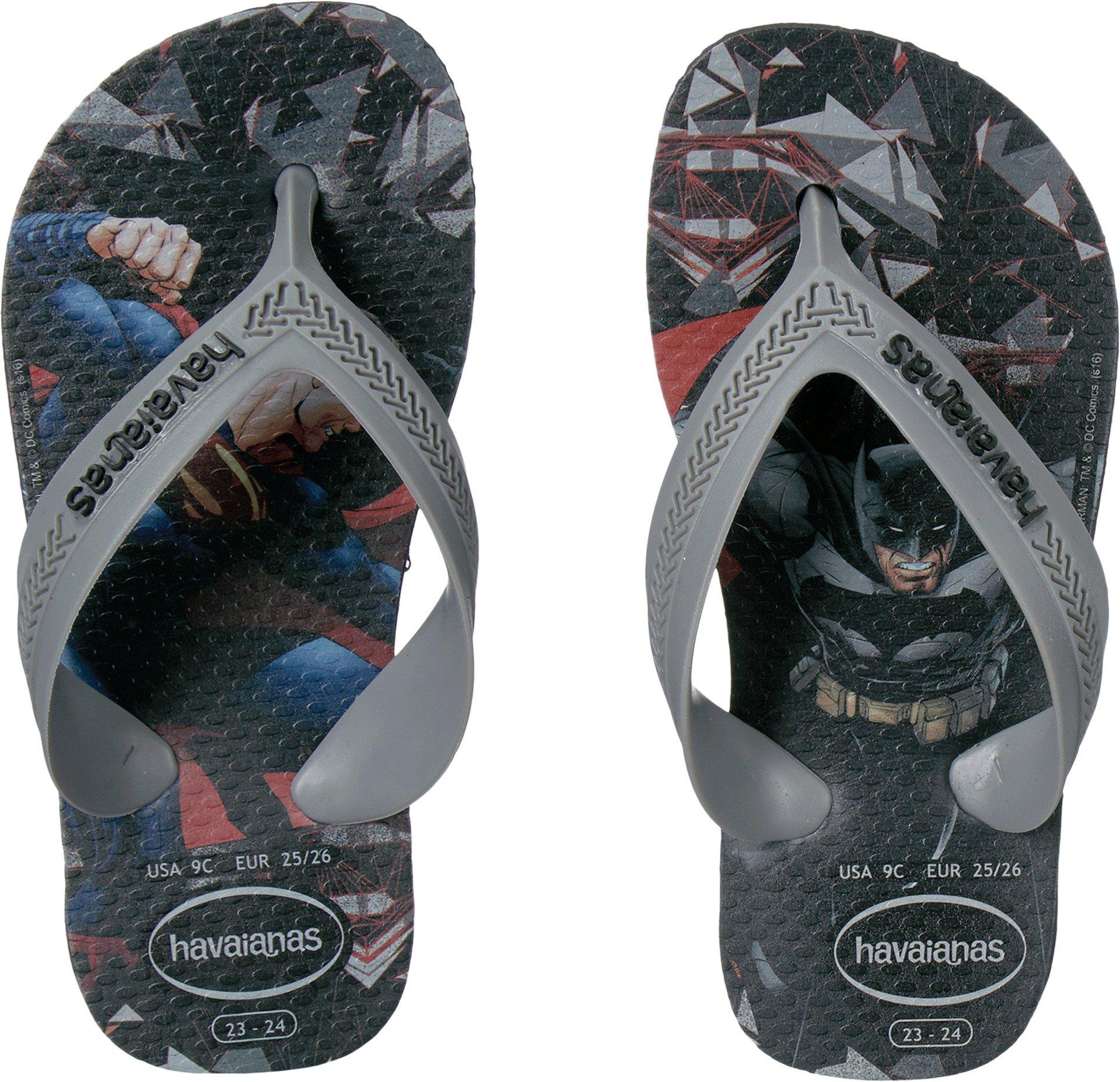 Havaianas Boys Flip Flop Sandals, Kids Max Heroes, Batman vs Superman,Black,25/26 BR (10 M US Toddler)