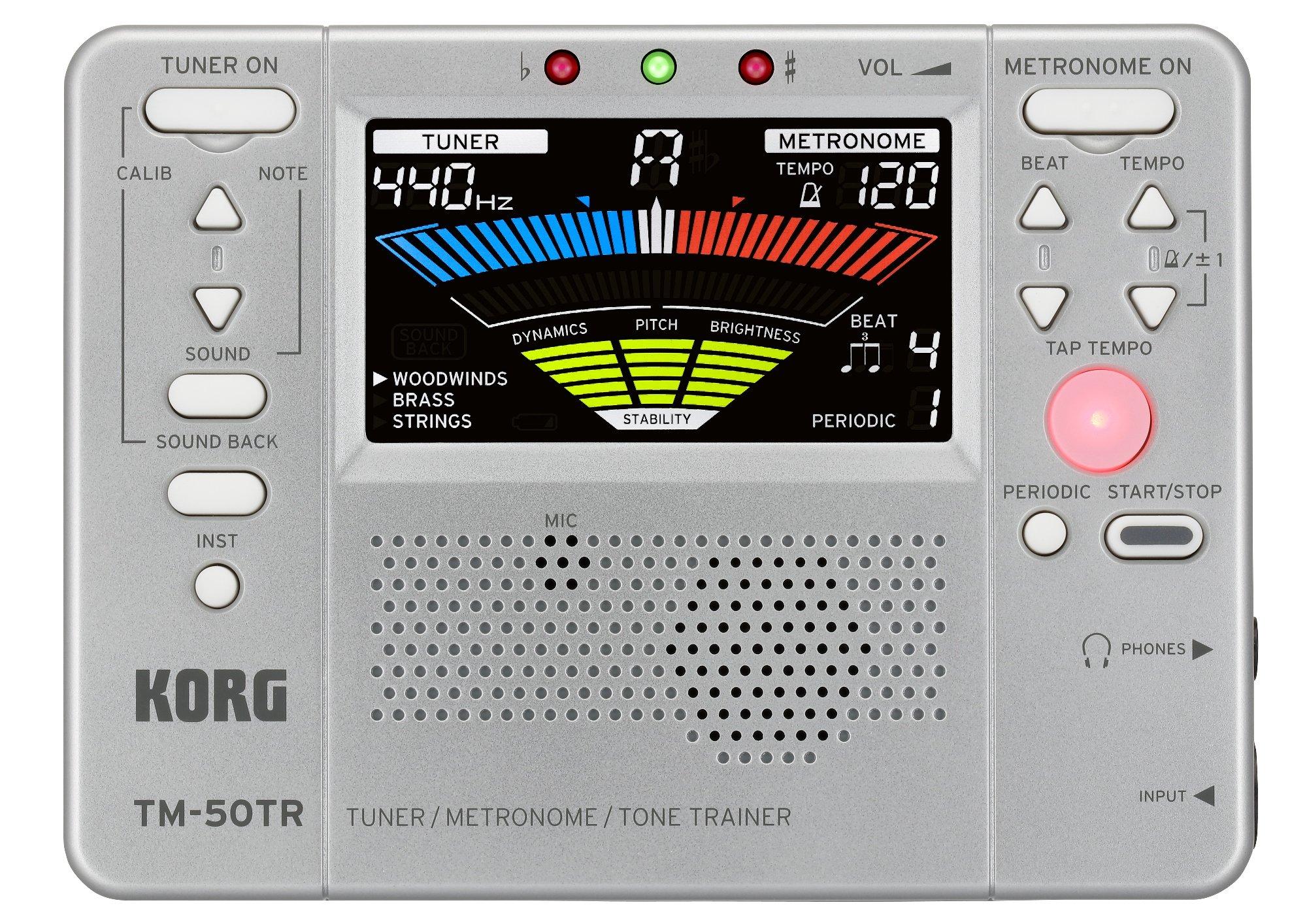 Korg TM50TRSL Trainer Metronome Tuner, Silver by Korg