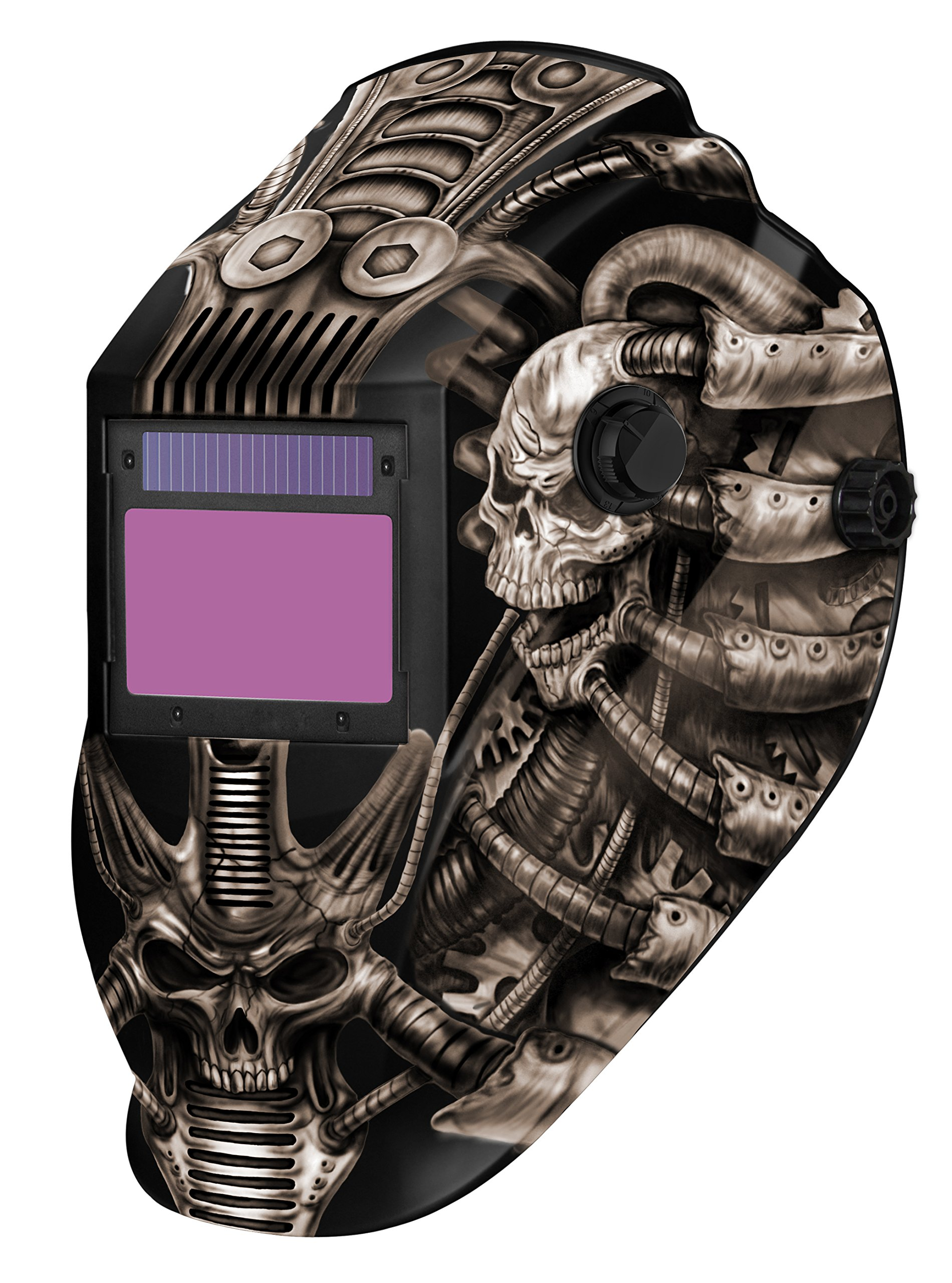 Metal Man ATEC8735SGC 9-13 Variable Shade Professional Auto-Darkening Welding Helmet, Techno Skull by Metal Man