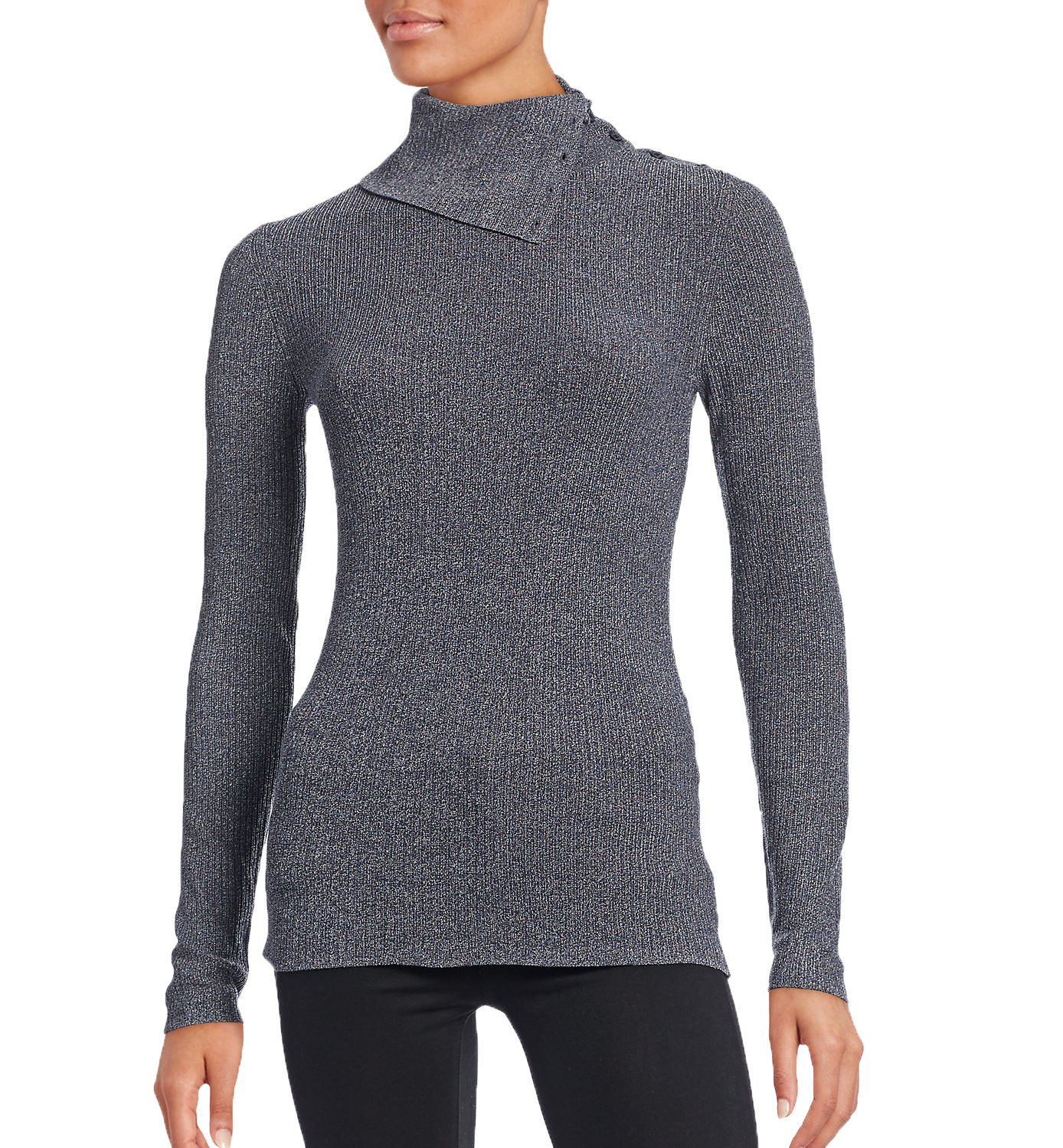 Theory Women's Leendelly Ribbed Turtleneck (Small, Navy Mix)