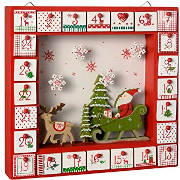 WeRChristmas Weihnachtsdekoration Holz Fenster Adventskalender, Mehrfarbig,  30 Cm