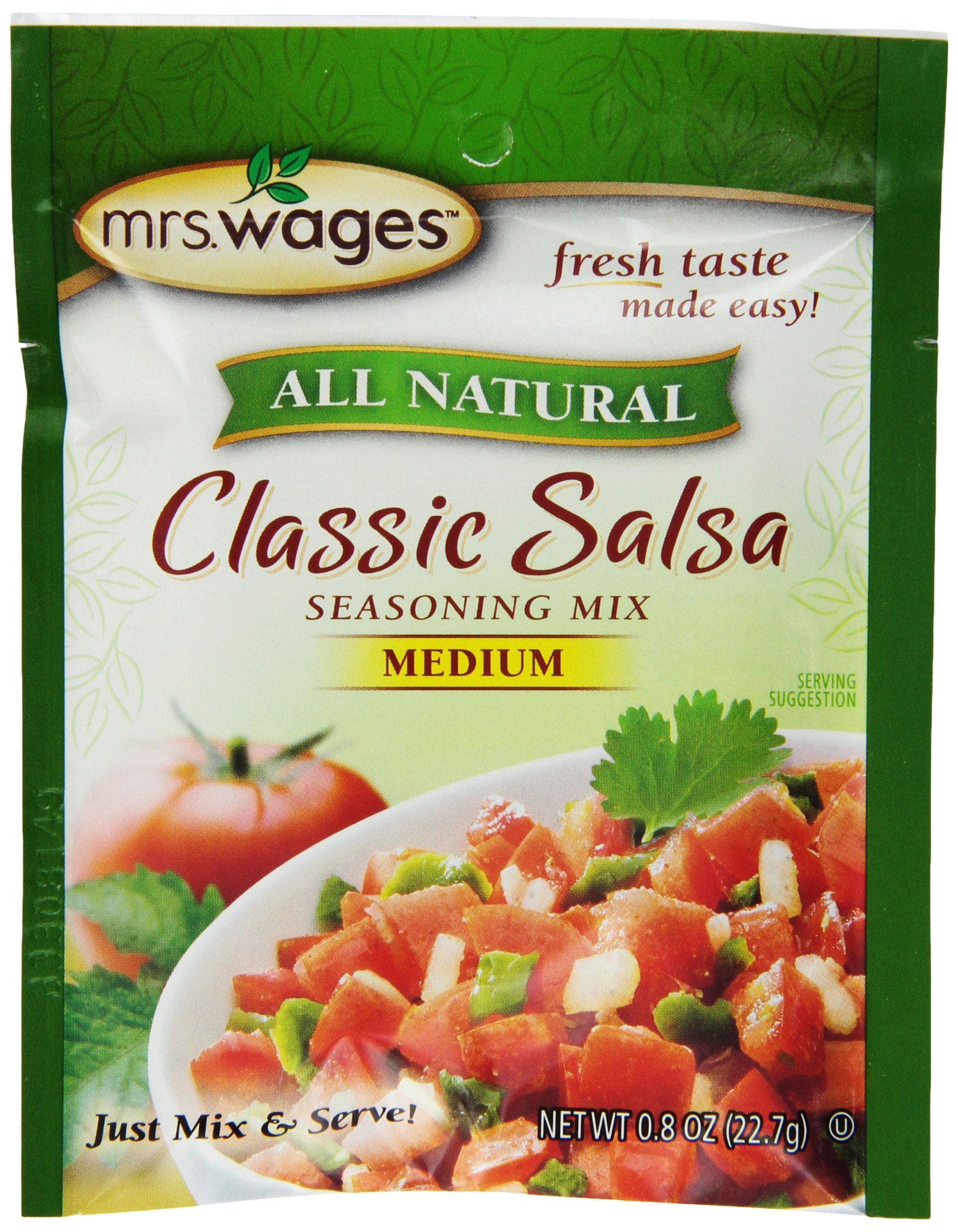 Mrs. Wages Classic Salsa Mix, Medium, 0 .8-Ounce Pouches (Pack of 12) by Mrs. Wages