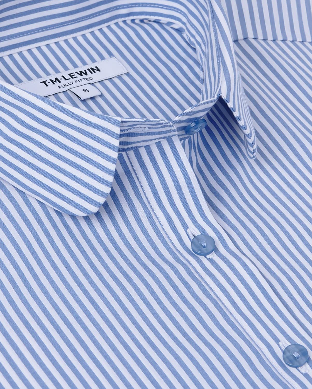 T.M.Lewin Women/'s Shirt Blue White Bengal Stripe Everyday Wear Lightweight