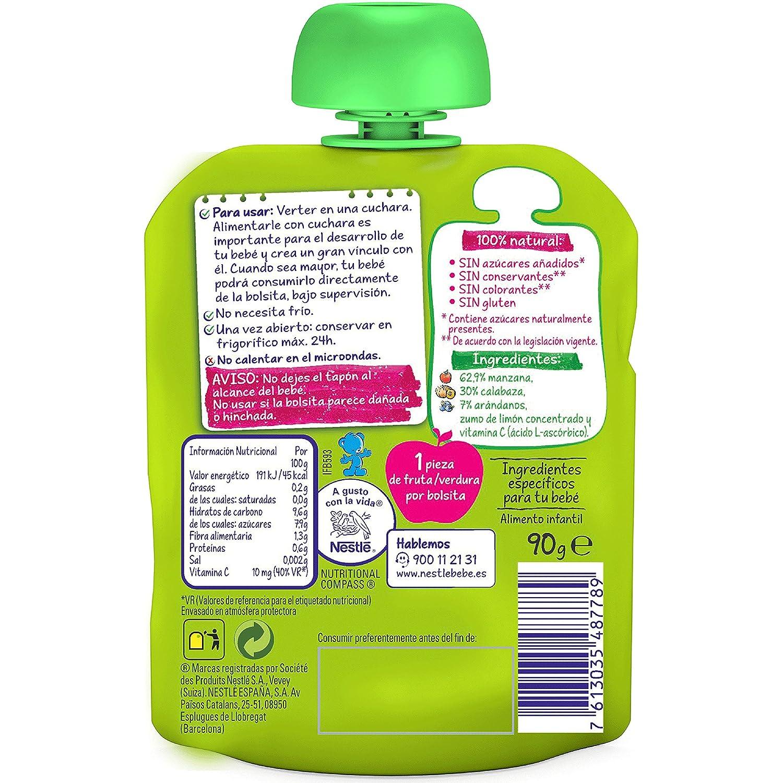 Nestlé Naturnes - Bolsita de Manzana, Calabaza y Arándanos - A partir de 8 meses - 90 g - [Pack de 8]: Amazon.es: Alimentación y bebidas
