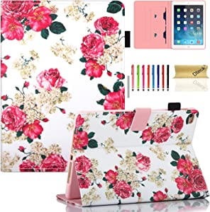 Dteck Case for iPad 6th Generation 2018 /iPad 5th Generation 2017 /iPad Air 2 2014 /iPad Air 2013 Tablet 9.7 Inch - Pretty Wallet Stand Wallet Flip Leather Cover Case with Stylus Pen, Pink Flowers