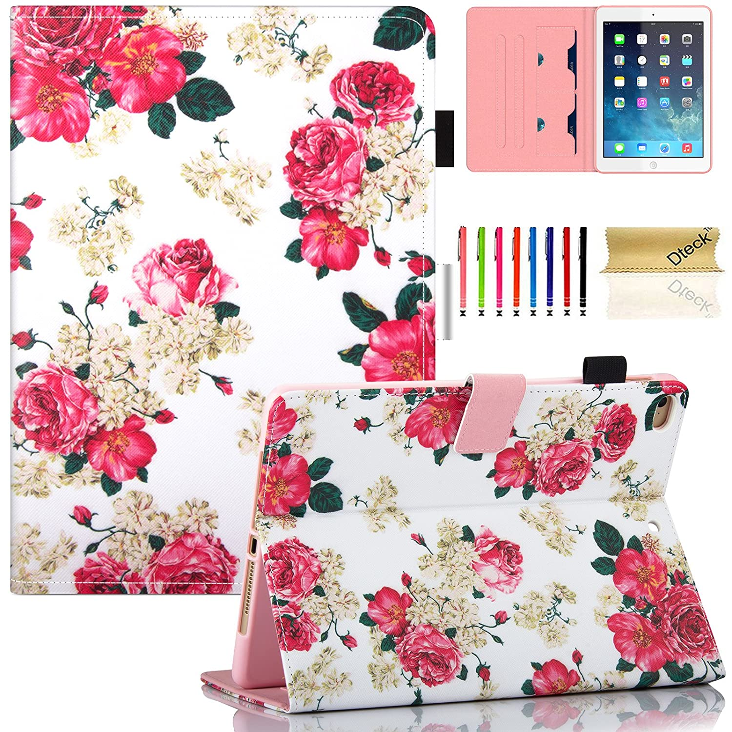 iPad Air 2 Case with Stylus Pen, iPad 6th Case, Dteck Pretty Pink Floral Flip Folio Smart Stand Case with [Auto Wake/Sleep Feature] Synthetic Leather Wallet Cover for Apple iPad Air 2 9.7 Inch Tablet-Flowers