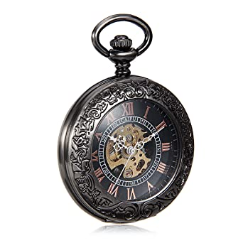 Luxury See Though Case Black Dial Roman Number Mens Hand Wind Mechanical Pocket Watch W/