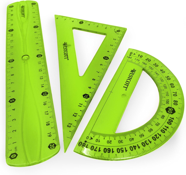 Westcott translúcido irrompible Flexible Regla – 3 piezas – incluye 20 cm regla, 2 escuadra y transportador de ángulos, color verde: Amazon.es: Oficina y papelería