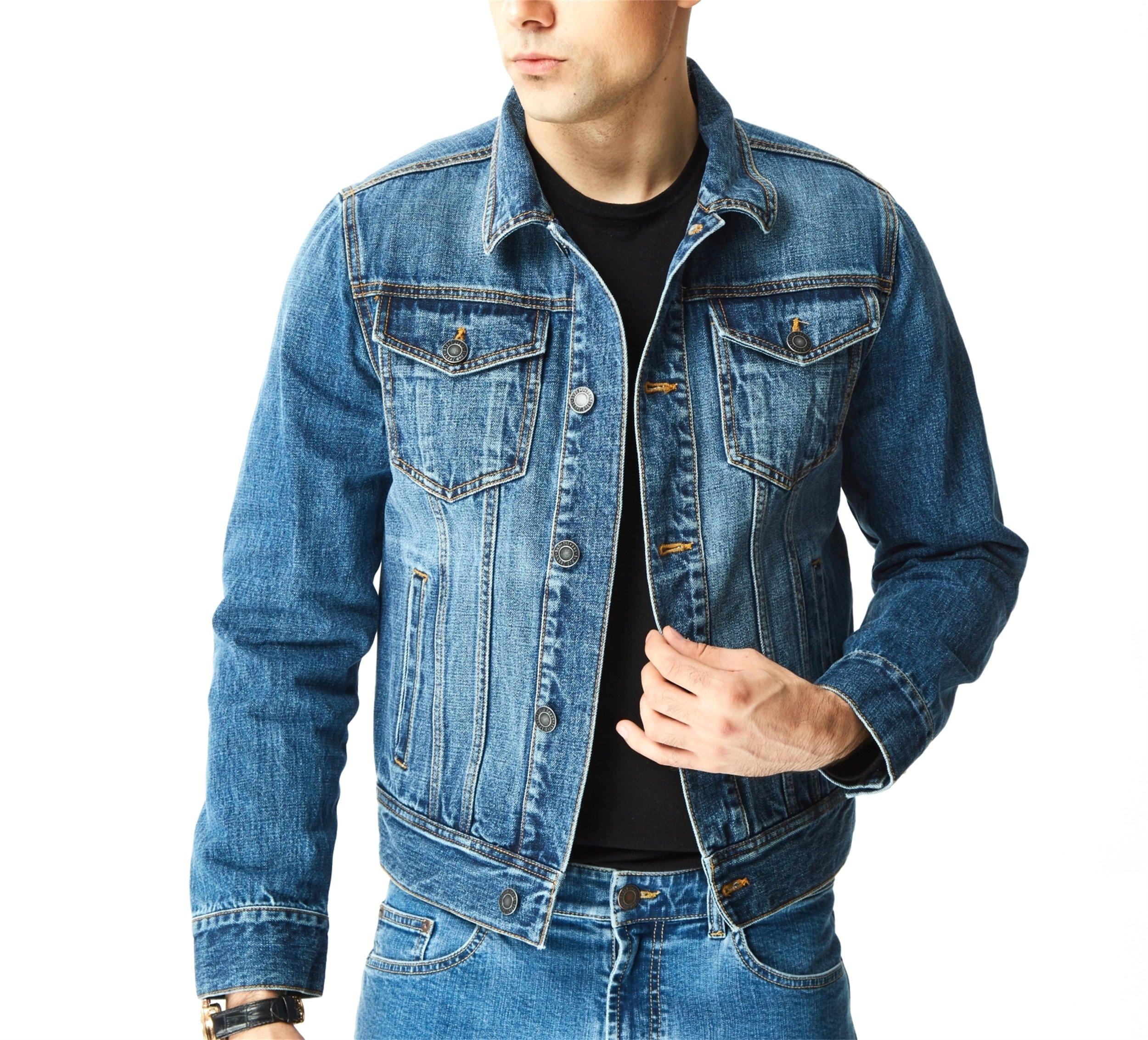 Aspop Jeans Men's Regular-Fit Jean Jacket L Dark Stone Wash