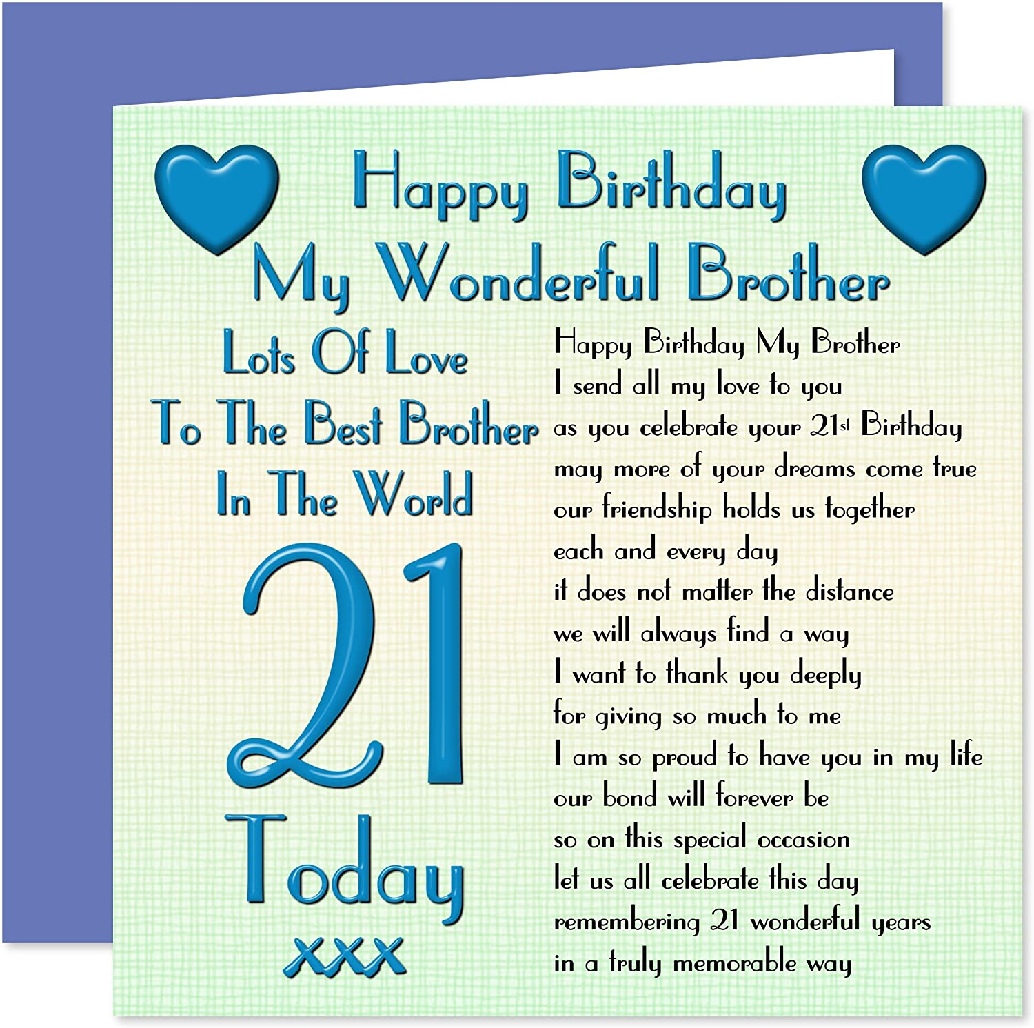 Brother 21st Happy Birthday Card Lots Of Love To The Best Brother In The World 21 Today Amazon Co Uk Office Products