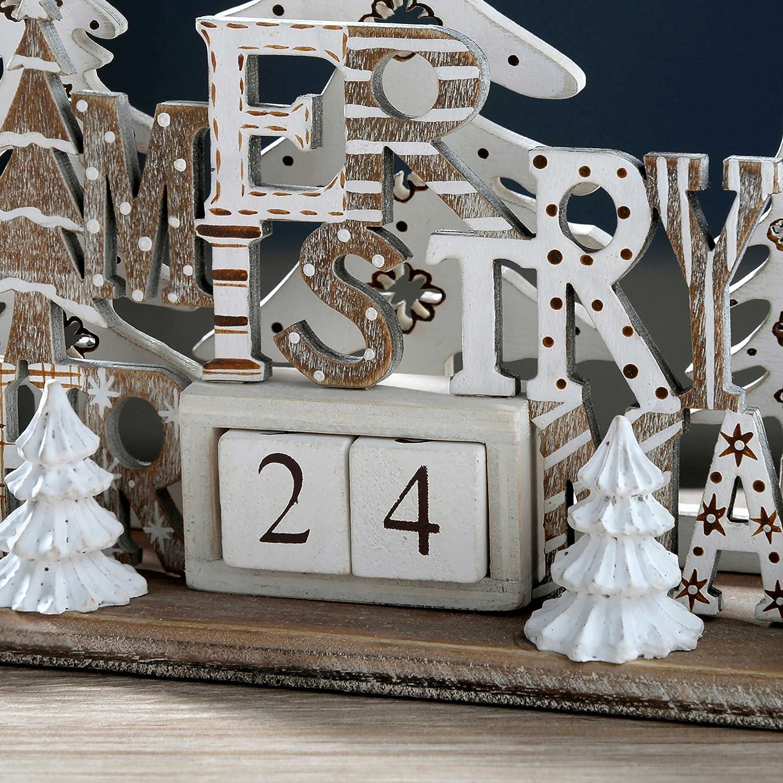WeRChristmas Weihnachten Szene Adventskalender Dekoration, Holz ...
