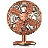 Brandson–Ventilator Tisch Kupfer Design Retró | 30cm Durchmesser mit 3Geschwindigkeitsstufen | Oszillation von 80° | Neigungswinkel verstellbar von ca. 40° | Robuste Schale aus Metall voll | 30W | Kupfer