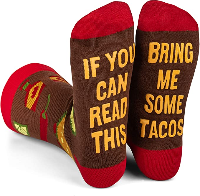 Lavley - Mens Novelty Socks - Funny Novelty Dress Socks For Men and Women (Taco)