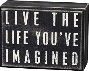 Primitives by Kathy 16342 Classic Box Sign, Live The Life