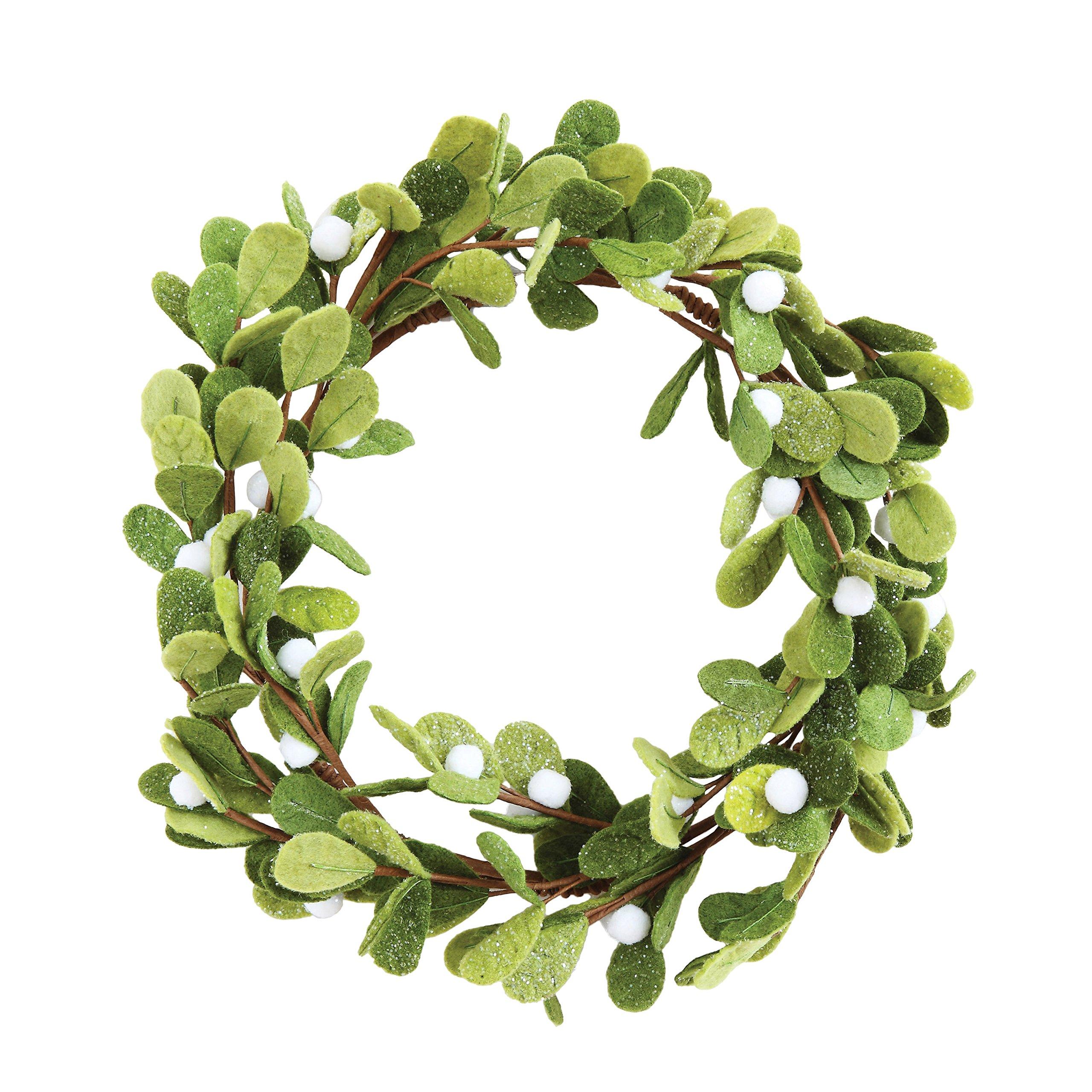 Creative Co-Op XM0923 Whimsy 18'' Round Felt Mistletoe Wreath