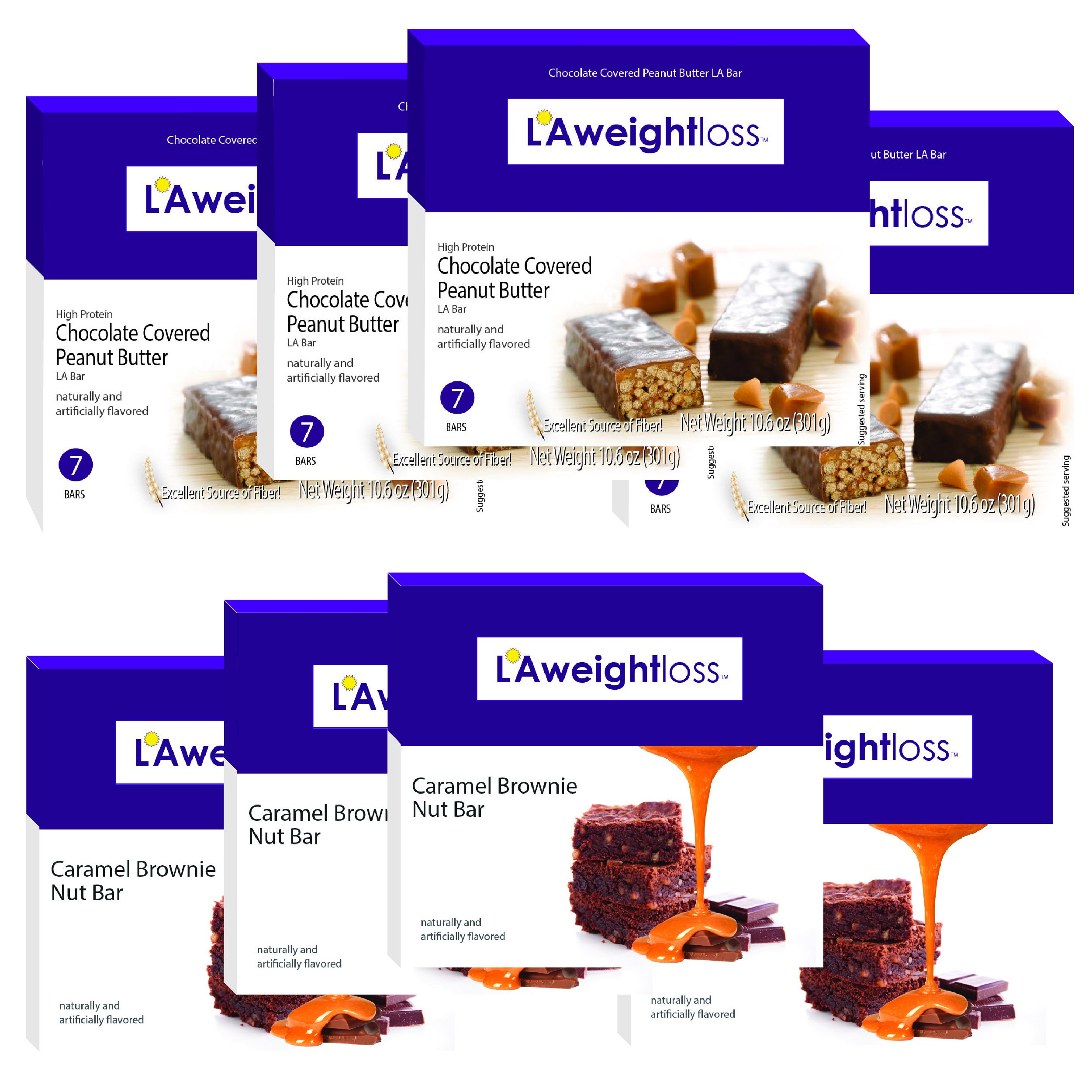 LA Bars - Chocolate Peanut Butter & Caramel Brownie 8 Pack by LA Weight Loss