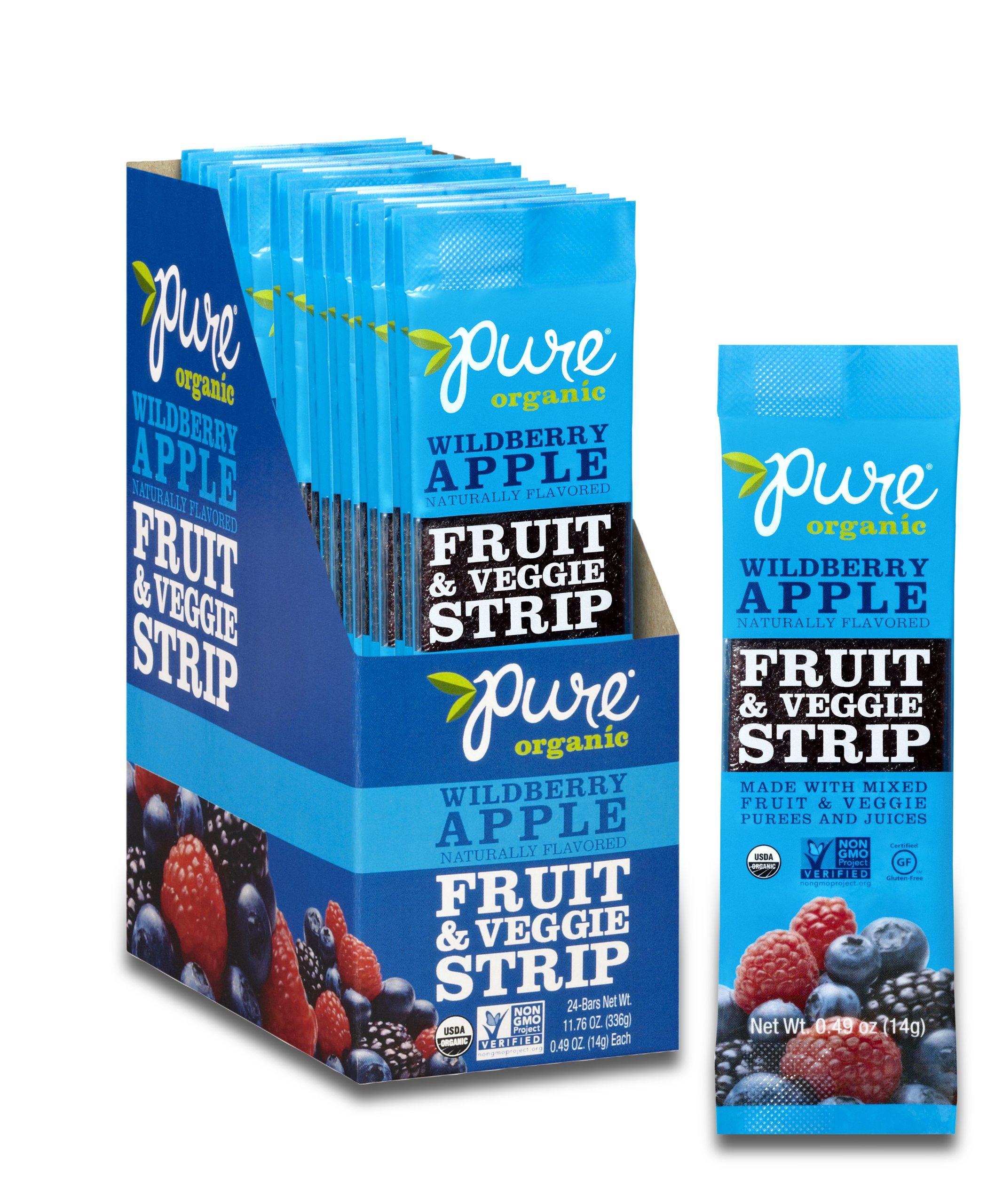 Pure Organic Wildberry Apple Fruit & Veggie Strip, Certified Organic, Gluten-Free, Non-GMO, Vegan, Kosher, Peanut Free, No Artificial Ingredeints, Fruit Snack, 0.49 ounce (Pack of 24)
