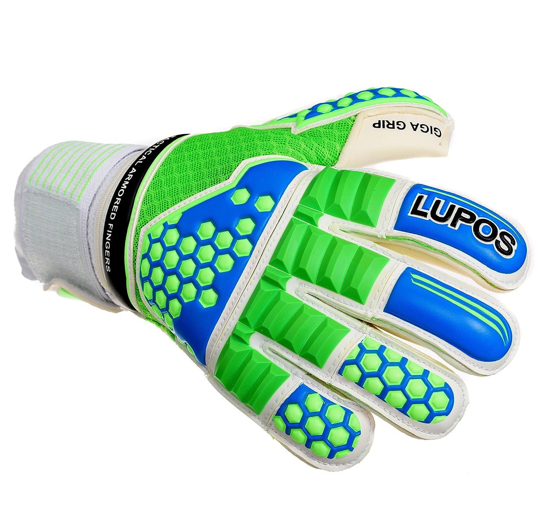 Goalie Gloves Youth、子供、大人用 – Lupos Armored。ゴールキーパーグローブ3d Techパンチゾーン、取り外し可能なPro Fingersave、4 mmドイツラテックス手のひらグリップGiga、3d超通気性メッシュBackhand ,ロールカット。 B07B3TZRTW 7