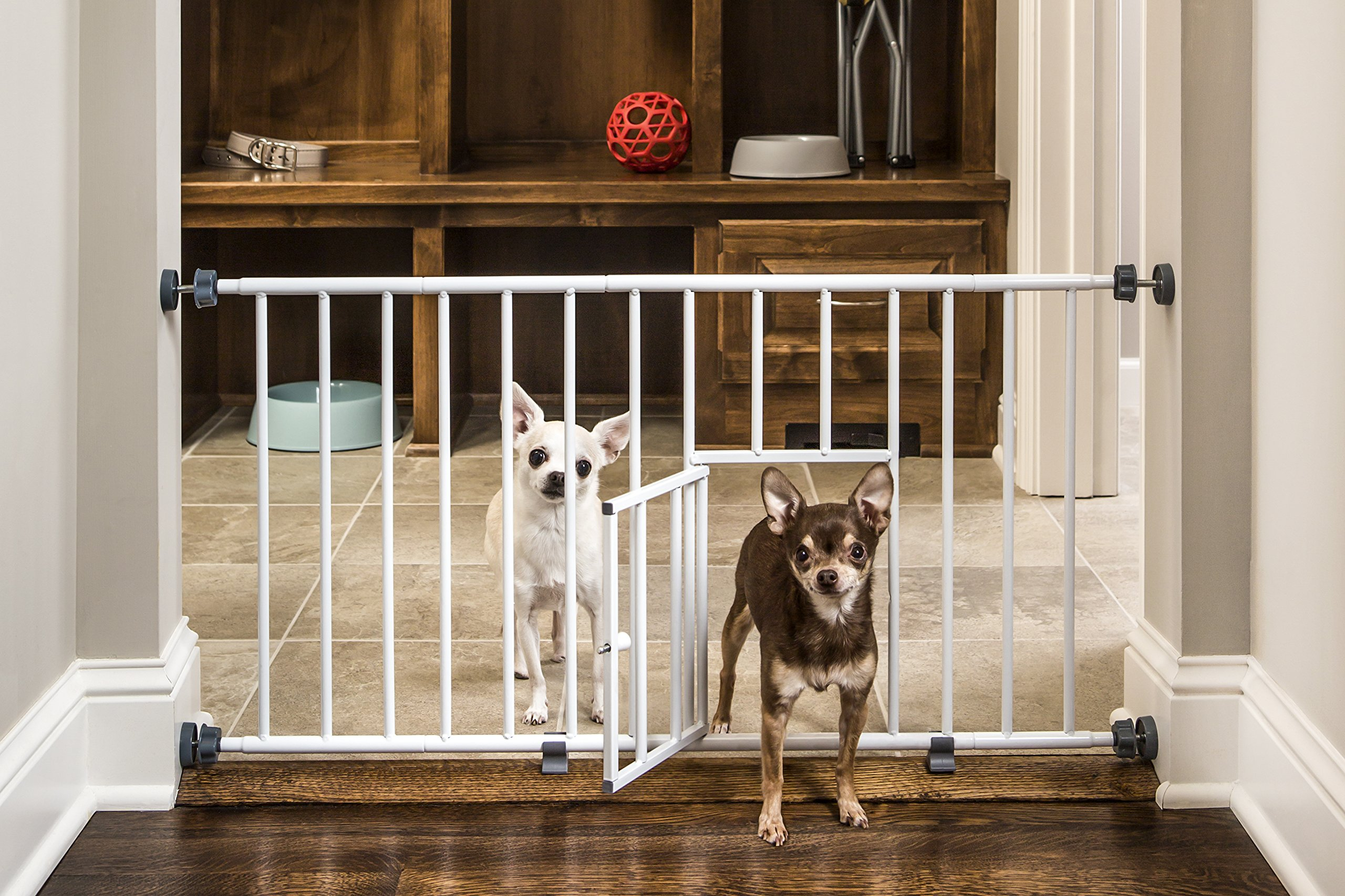 Carlson Pet Products MINI Expandable Extra Wide Pet Gate with Small Pet Door by Carlson