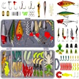 GOANDO Fishing Lures Kit for Freshwater Bait Tackle Kit for Bass Trout Salmon Fishing Accessories Tackle Box Including Spoon