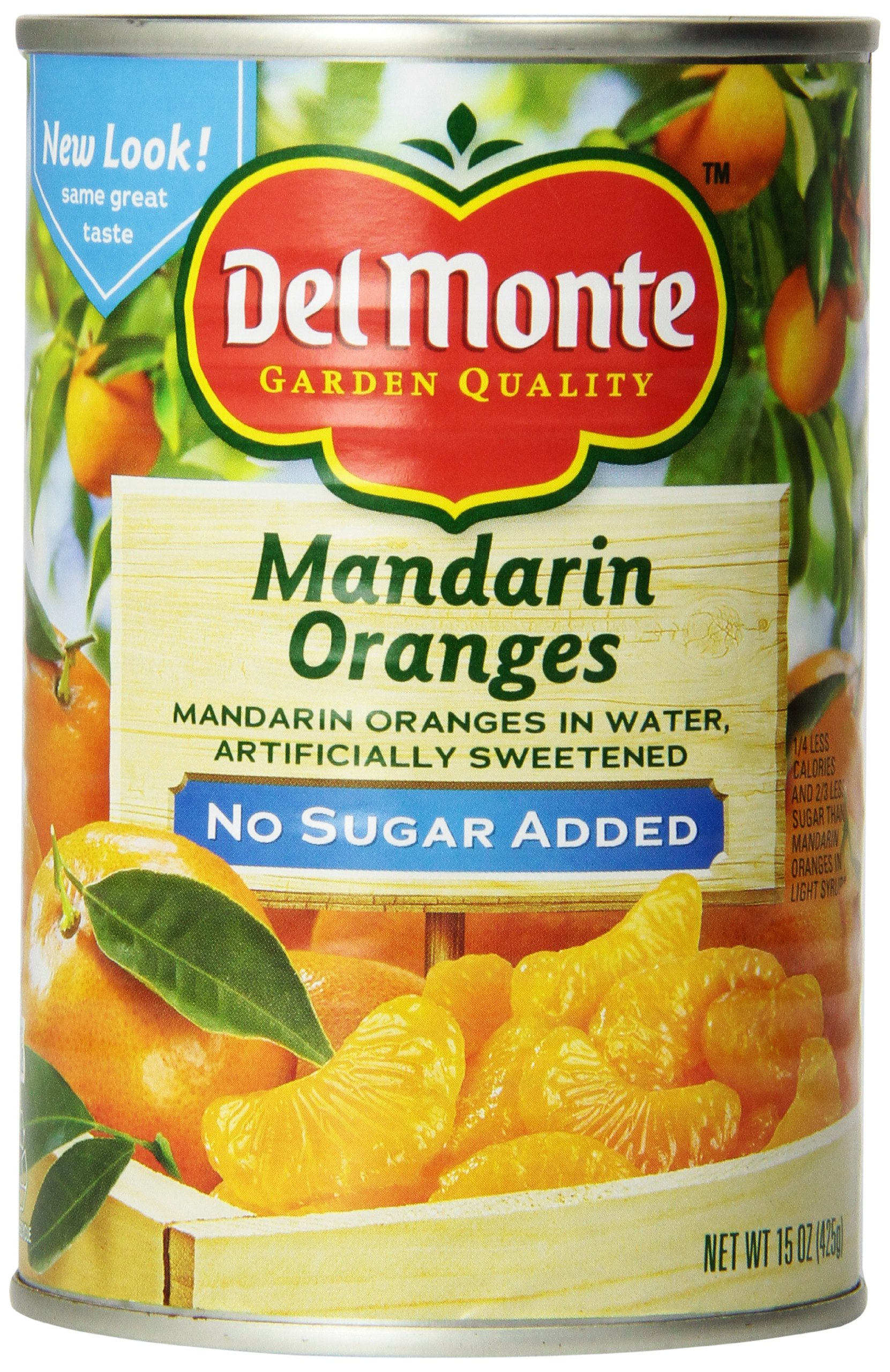 Del Monte Mandarin Oranges Whole Segments Packed in Water Artificailly Sweetened No Sugar Added, 15-Ounce (Pack of 6)