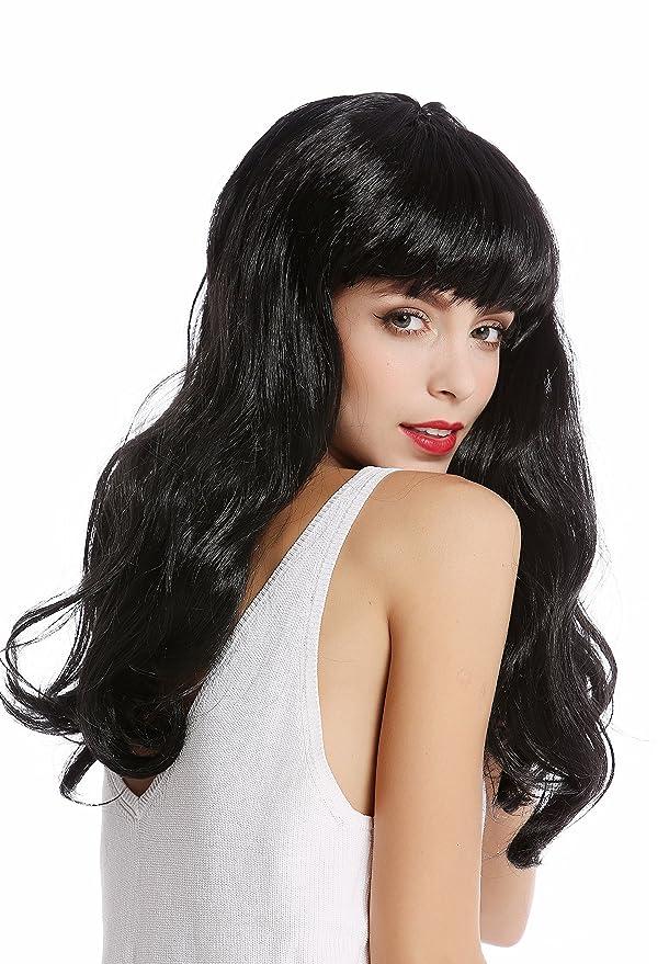 WIG ME UP ® - 90649-ZA103 Peluca Mujer Halloween Carnaval Largo Negro Flequillo Burlesque 50s Pin-up: Amazon.es: Juguetes y juegos