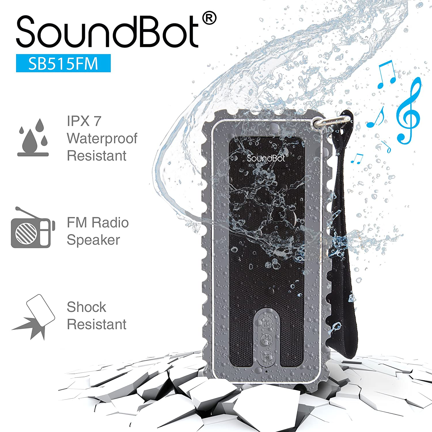 SB515FM Bluetooth Shock Proof Resistant Sound Grey Image 1