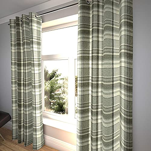 McAlister Textiles Heritage Curtains Set of 2 Tartan Check Charcoal Gray Curtains Drapes for Living Room Bedroom Blackout Lining Chrome Eyelet Header 100 Width x 120 Length
