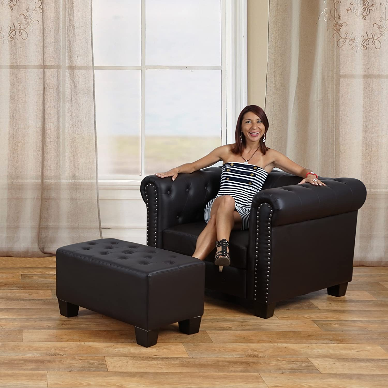 Luxus 3er sofa loungesofa couch chesterfield kunstleder runde luxus 3er sofa loungesofa couch chesterfield kunstleder runde fe schwarz amazon kche haushalt parisarafo Images