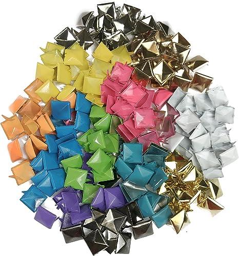 100pcs Punk Colors Metal Square Pyramid Rivet Cone Studs Nailhead Craft Spike DIY 12mm 1//2