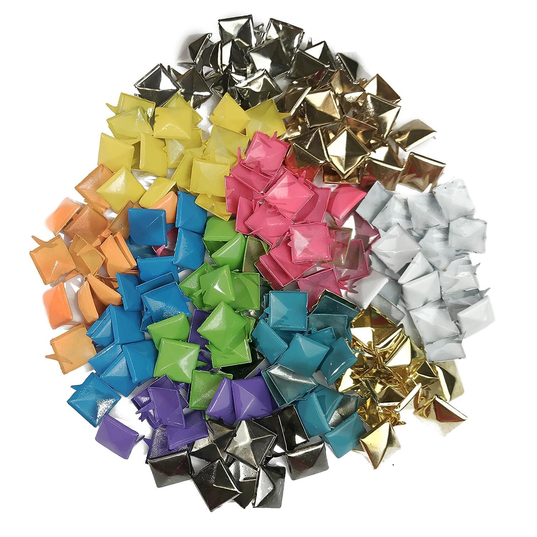 1200pcs Punk Colors Metal Square Pyramid Rivet Cone Studs Nailhead Craft Spike DIY 12mm 1//2 Y/&W Creating