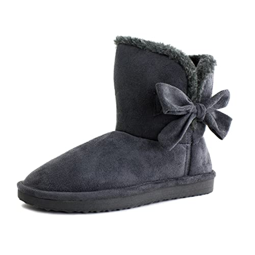 Mini Womens Flat Ribbon Winter Fur Ankle Short Fux Suede Boots (6, Grey)