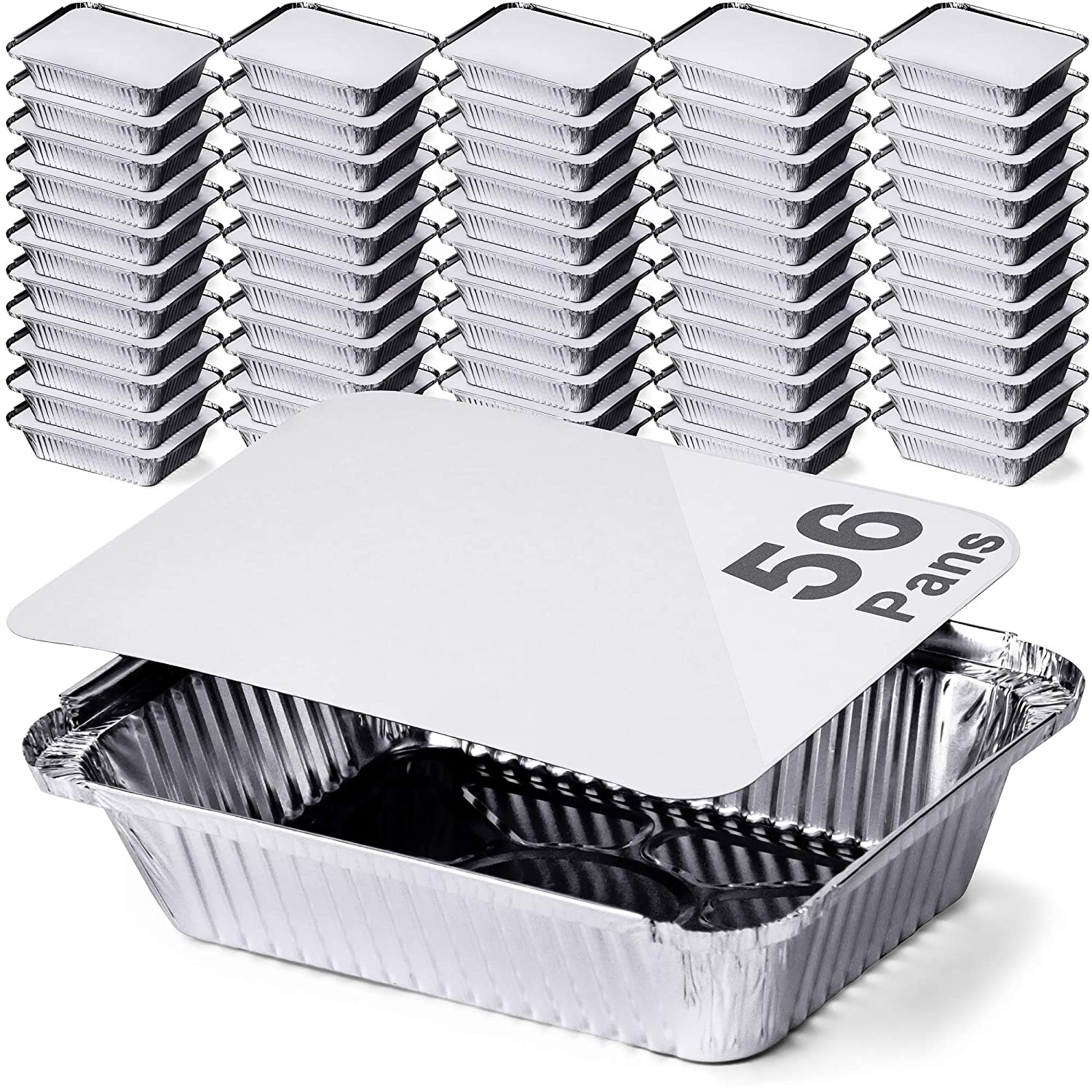 DecorRack 56 Aluminum Pan Disposable with Flat Board Lid, 2.25 Lb Heavy Duty Rectangular Tin Foil Pans, Perfect for Reheating, Baking, Roasting, Meal Prep, to-Go Containers (56 Pack)