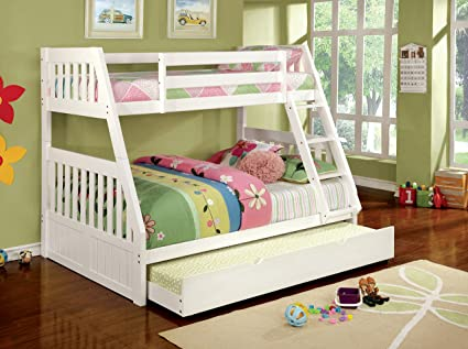 Amazoncom Furniture Of America Garvey Twin Full Bunk Bed White