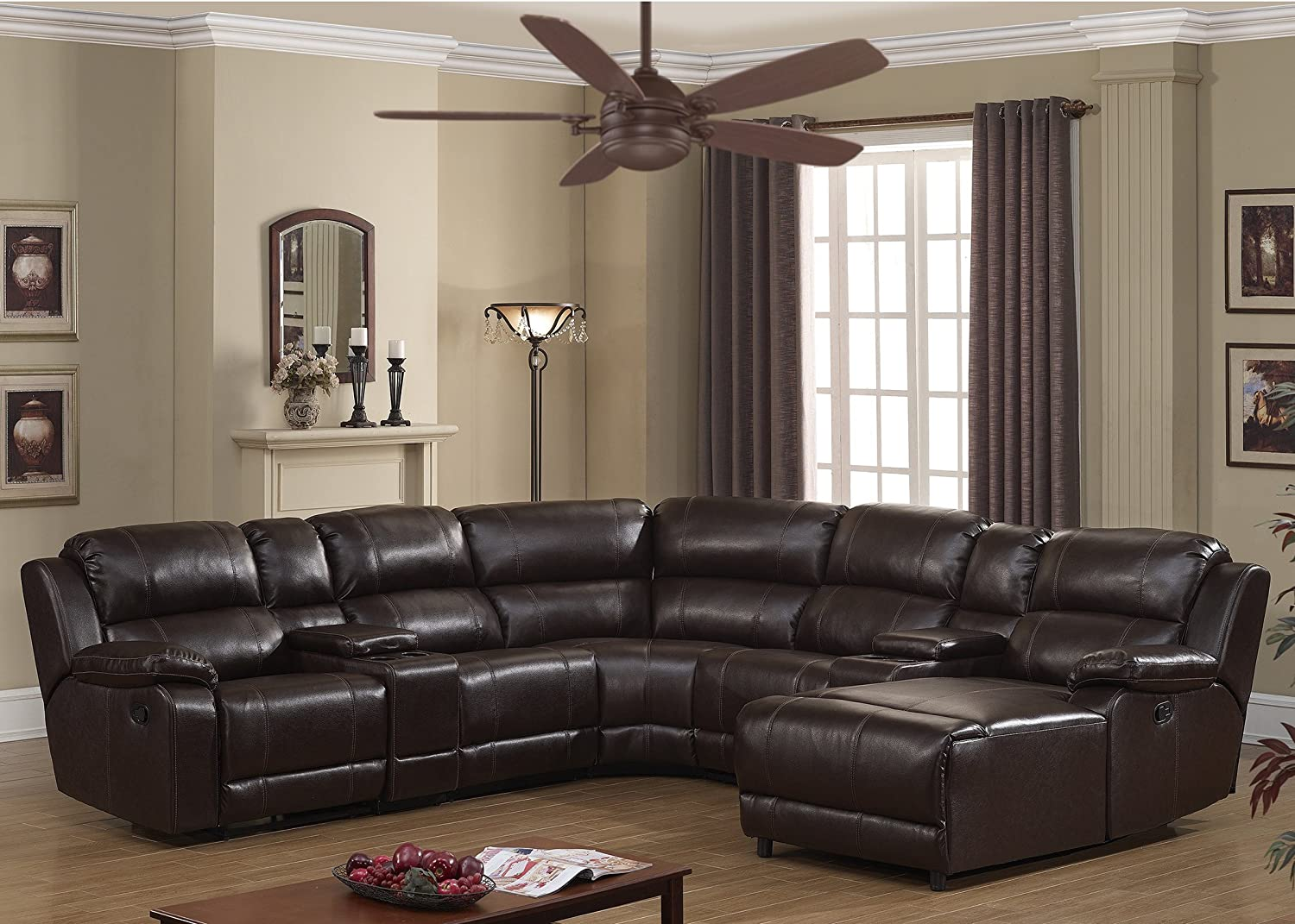 6-Piece Upholstered Leather Reclining Living Room Sectional Set with Dual Recliners, 2 Storage Consoles, and 4 Cup Holders, Dark Brown