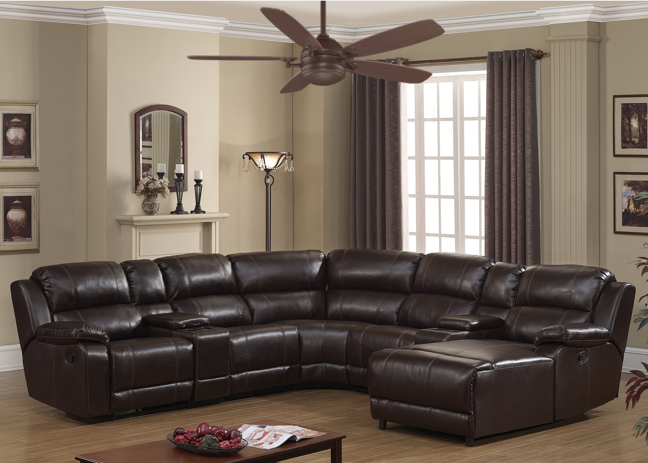AC Pacific Colton Collection Transitional 6-Piece Upholstered Leather Reclining Living Room Sectional Set with Dual Recliners, 2 Storage Consoles, and 4 Cup Holders, Dark Brown by AC Pacific