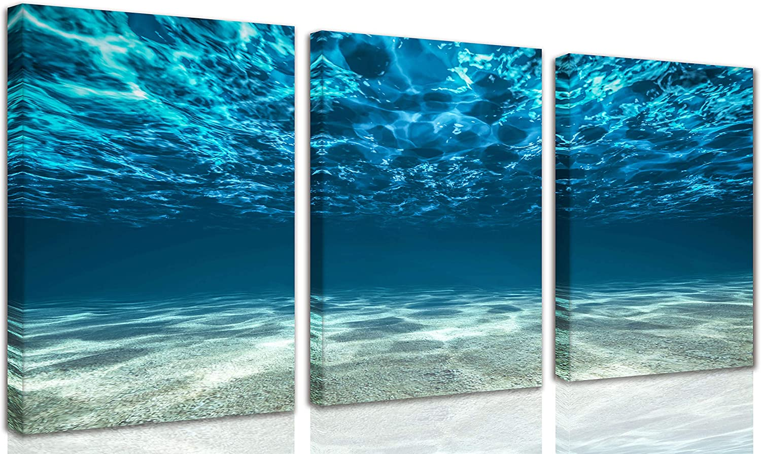 CERLMLAND 3 Panel ocean - canvas art Blue Ocean Sea wall art for living room, Seaview Bottom Pictures Painting Artwork-wall-art - Home office Decor each 12x16inch