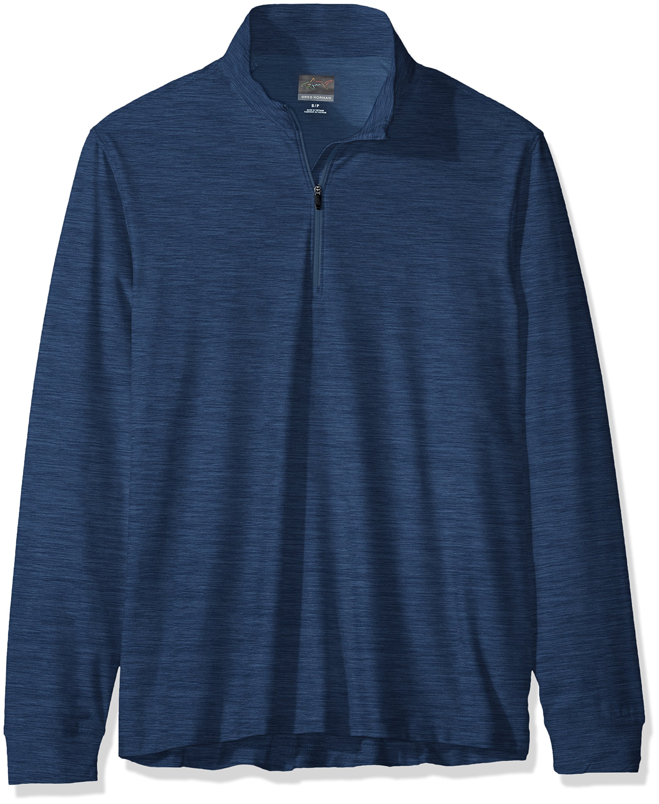 Greg Norman Heather 1/4-Zip Mock, Tidal Blue Heather, X-Large