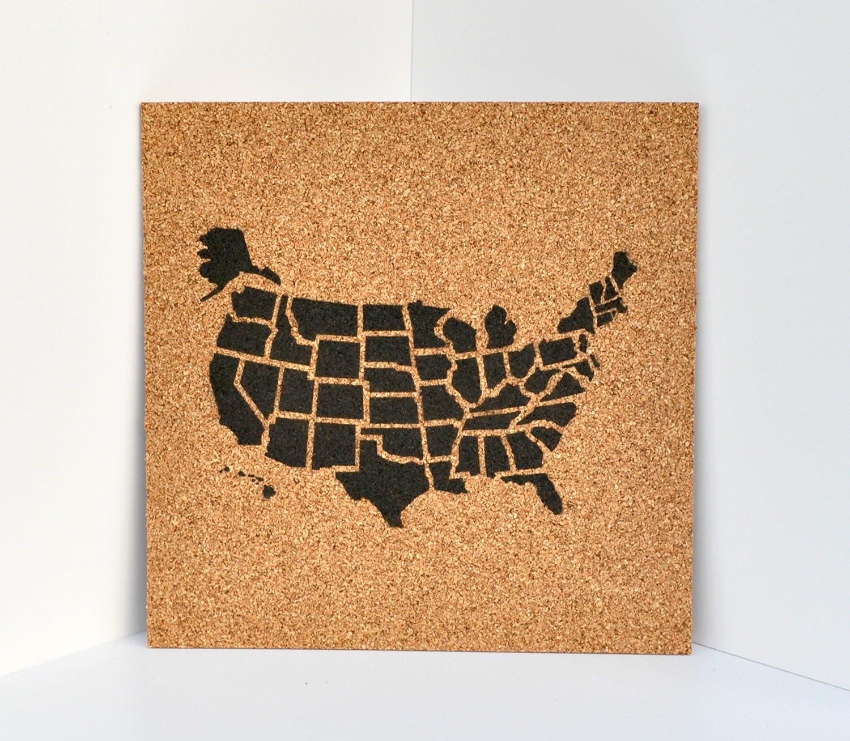 Push Pin Cork Travel Map of the United States/Wanderlust Travel Gift/USA Bulletin Board/US Corkboard