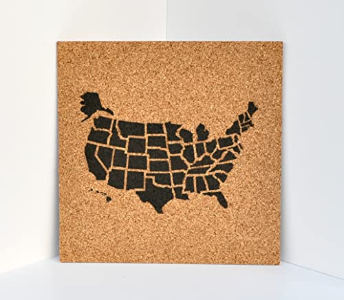 United States Cork Map Bulletin Board with 100 Map Pins