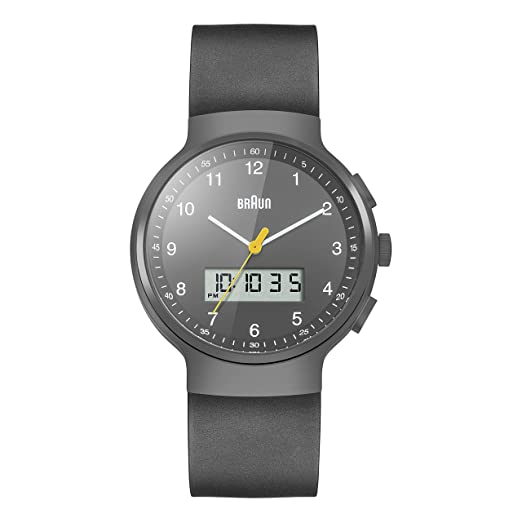 627a78e0e Braun Men's Quartz Watch with Grey Dial Analogue Digital Display and Black  Rubber Strap BN0159GYGYG