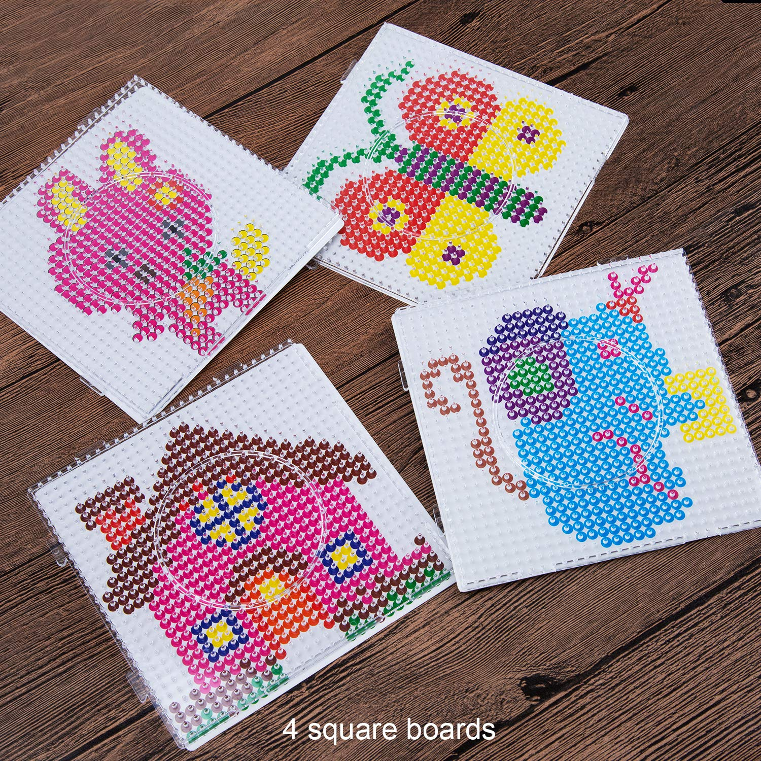 Square Round Hexagon Shape Pegboards with 6 Pattern Template Paper Cards and 2 White Tweezers for Children Craft Beads Supplies SAVITA 6 Pieces 5mm Fuse Beads Boards Clear Plastic Pegboards Kit
